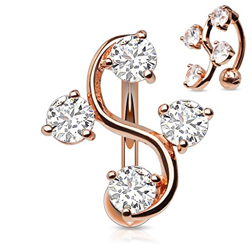 - Vine with CZ Gems Rose Gold Plated Top Down Belly Button Ring 14g Reverse Navel Ring