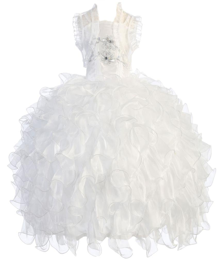 AkiDress Taffeta and Organza Ruffle Pageant Dress for Little Girl White 4