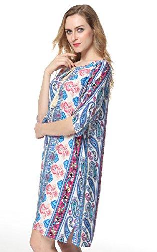 Tunic Dress Women's Printed Vintage Blue Bohemian Casual ARANEE Boho Loose gvqw4xU
