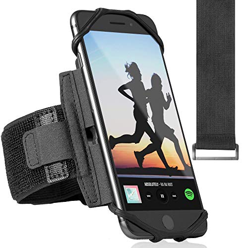 360° Rotatable Premium Sports Running Armband for All Phones: iPhone X XR XS Max 8 Plus 7 Plus 6, Samsung Galaxy A8 S10 S9 S8 Edge, LG, HTC, Pixel; Universal Cellphone Holder + Free Extender Strap from ideas4comfort