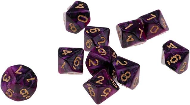 milageto Dados De Juego De 10x 10 Caras Dados De 16 Mm para Juegos De Mesa / Enseñanza De Matemáticas - Púrpura + Negro: Amazon.es: Juguetes y juegos
