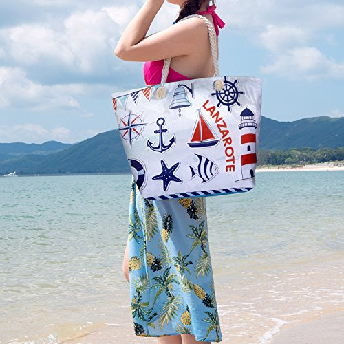 Bag Top Waterproof Bag Holiday Beach Oversized Canvas Travel Zip Bag Czemo 12 Tote Bag Shopping Shoulder with wZdqXAqx