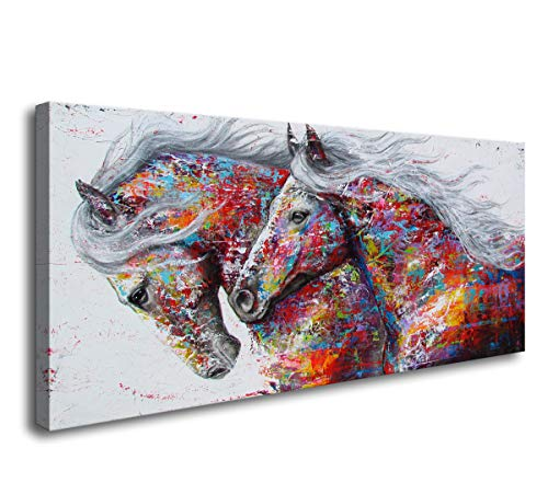 Art Poster Painting - DZL Art D72050 Graffiti Canvas Wall Art Horse Oil Paintings Wild Animals Prints Poster for Home Wall Decor