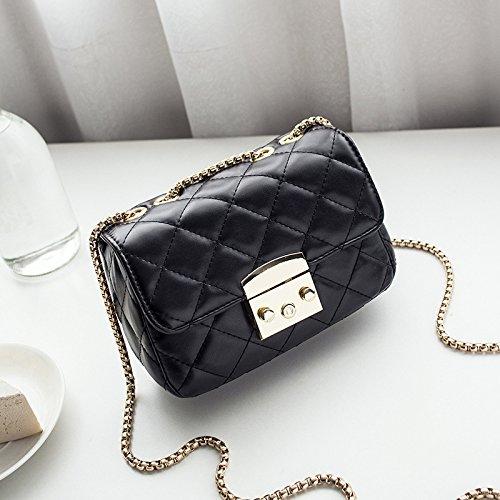GUANGMING77 Rosa Bag Cadena Bolsa Square De Mini Bolsa Black Bag Cadena Satchel Celosía Celosía rwC7rq0