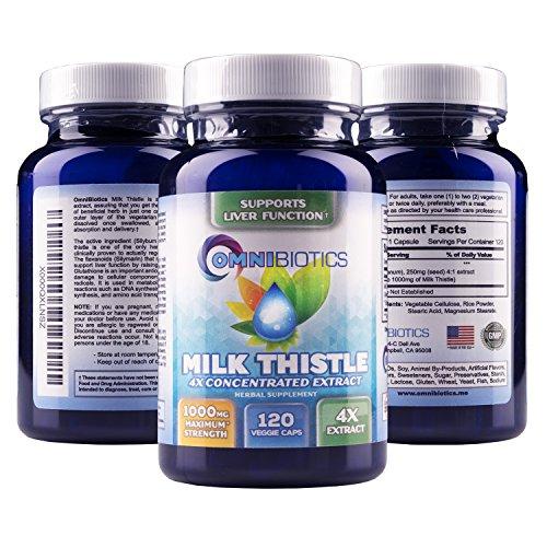 X concentrado Extracto de leche Thistle 4 es el más fuerte leche Thistle suplemento disponible! 1000mg de extracto de silimarina. Fácil de tragar cápsulas vegetarianas, excelente para hígado limpieza y desintoxicación! Cuenta 120 valor tamaño