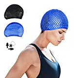 CosyInSofa Swim Cap, Women Silicone Swimming Cap for Long/Curly/Braids Hair Unisex Adult Kids Bathing Cap, Keep Hair Dry with Nose Clip and Ear Plugs (Blue)