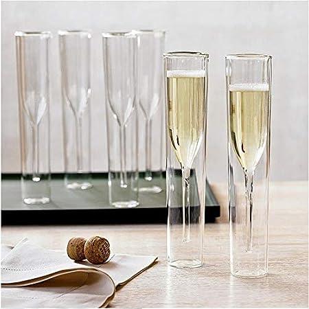 DHDHWL Boda Champagne Flautas Restaurante Ron La Pared del Doble del Tulipán Cáliz Sherry Espumoso Vaso De Vino Rojo Copa De Cristal (Color : 2 Pieces)