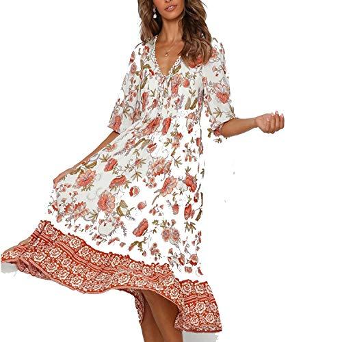 - VTDF4TY7 Women Summer Boho Dress Sexy V-Neck Half Sleeve Print Long Dress 2019 Ladies Casual Vacation Beach Dresses,White,M