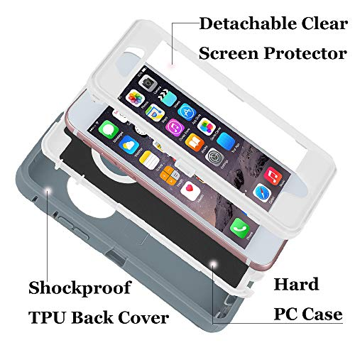 smartelf Case for iPhone 6/6s Heavy Duty With Built-in Screen Protector Shockproof Dust Drop Proof Protective Cover Hard Shell for Apple iPhone 6/6s 4.7 inch-Grey/White