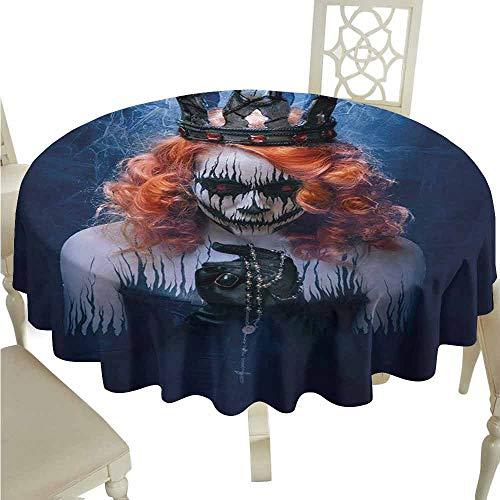 (duommhome Queen Spill-Proof Tablecloth Queen of Death Scary Body Art Halloween Evil Face Bizarre Make Up Zombie Easy Care D43 Navy Blue Orange)