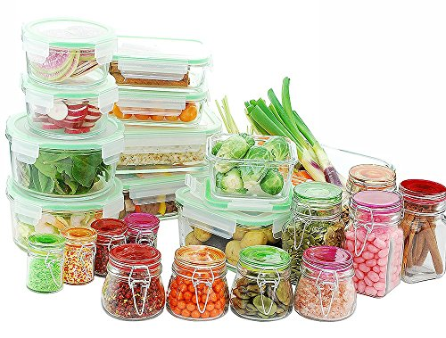 Kinetic 11435 Go Green Glassworks Series 34 Piece Set Glass Food Storage Container with Lid and Mini Jar, Clear