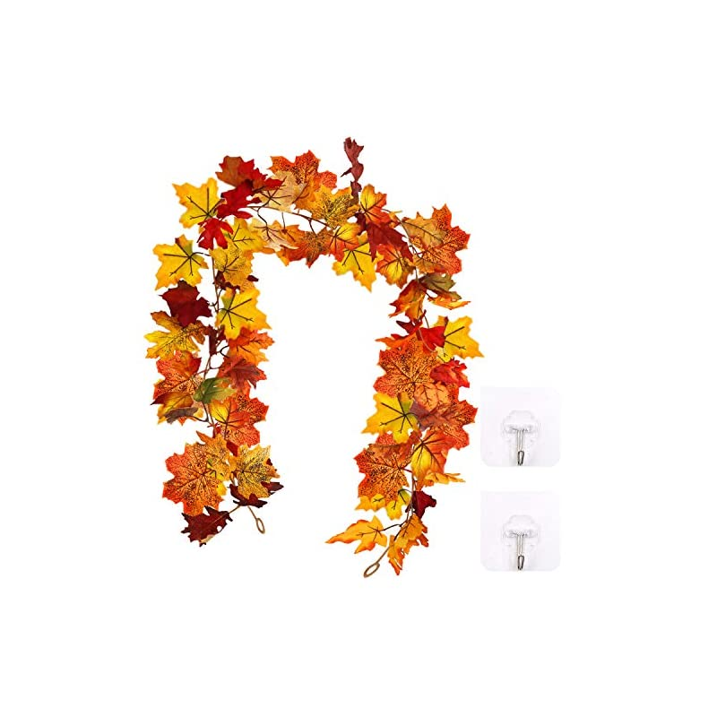 silk flower arrangements higift 2 pack fall garland maple leaf with 4 self-adhesive hook up - autumn hanging fall leave vines for indoor outdoor christmas decor thanksgiving dinner party fireplace weddin-5.8 ft/piece