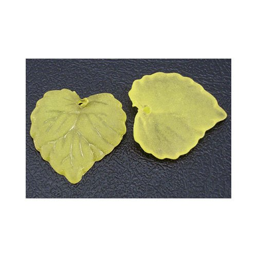 Packet 50+ Yellow Lucite 15 x 16mm Leaf Beads HA26180 (Charming -
