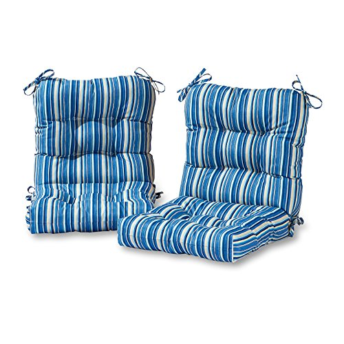 Greendale Home Fashions Outdoor Seat/Back Chair Cushion in Coastal Stripe (set of 2), Sapphire by Greendale Home Fashions