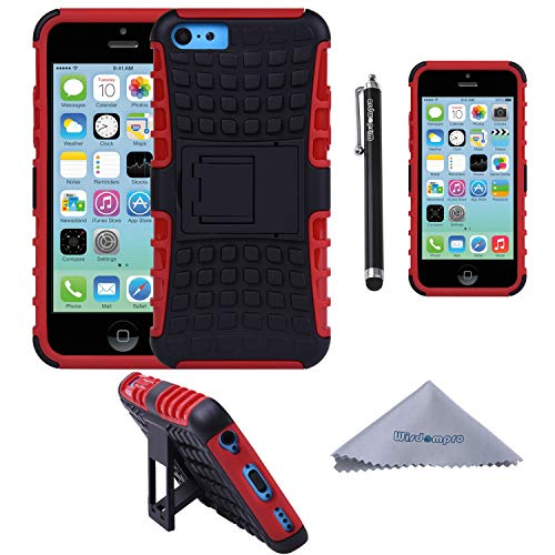 Wisdompro iPhone 5c Case, [2 Piece in 1] Dual Layers [Heavy Duty] Hard Soft Hybrid Rugged Protective Case with [Foldable Kickstand] for Apple iPhone 5c - Red/Black