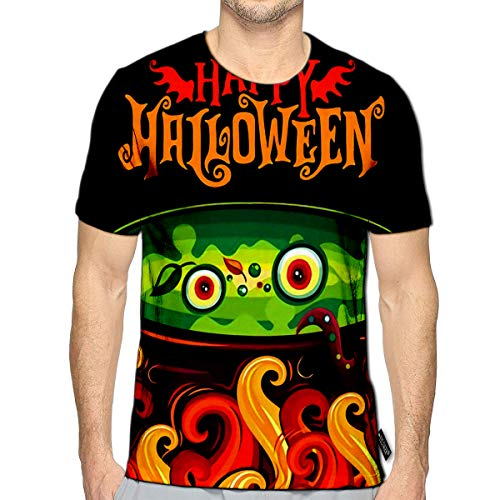 T-Shirt 3D Printed Halloween Party Invitation Spooky Frying Greetings Wings Label Hap Casual Tees ()