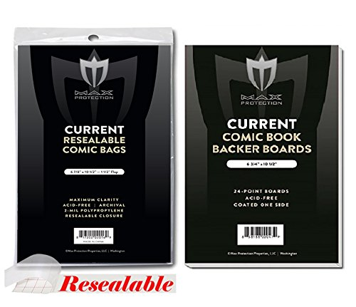 (200) Current Size RESEALABLE Ultra Clear Comic Book Bags and Boards - by Max Pro (Qty= 200 Bags and 200 Boards) by Max Protection (Image #1)
