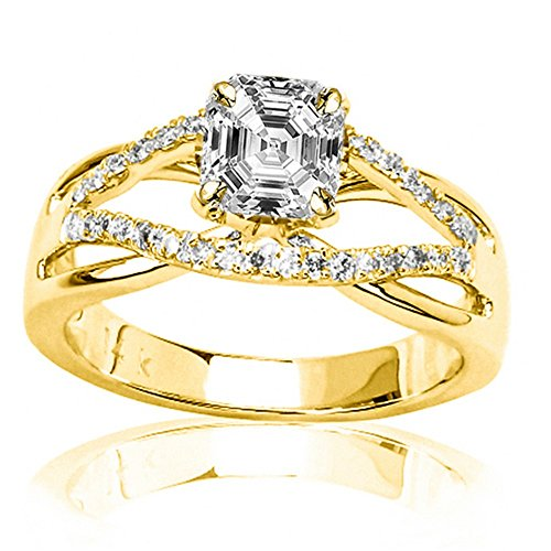 14K Yellow Gold 2.01 CTW Infinity Twisting Split Shank Pave Set Round Diamonds Engagement Ring w/ 1.74 Ct GIA Certified Asscher Cut D Color SI1 Clarity Center 1.74 Ct Round Diamond