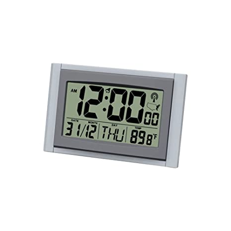 Hense Atomic controlado por radio reloj despertador digital de viaje, Jumbo LCD Indicador de hora