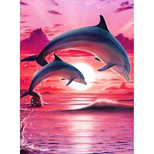MXJSUA Pintura de Diamante DIY para Adultos Pintura de Taladro Cuadrado Completo con Kits de Diamantes Arte 5D para decoracion de Pared Delfines saltadores Rojos 40x50cm