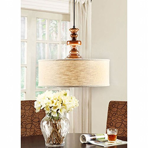 Modern Farmhouse Chandelier for Dining Rooms, Kitchens and Breakfast Nooks | Drum Light Fixture is Adjustable in Height | Made of Wood and Fabric This Rustic Pendant Lamp Provides Warm Ample Lighting (Breakfast Room Lighting)