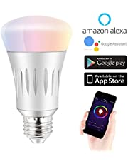 Smart Wi-Fi LED Light Bulb Multi-Color, Dimmable, Compatible with Alexa and Google Assistant, Lamp for Home Indoor Remote Control