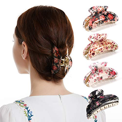 Twinfree 4 Pack 3.5 Plastic Hair Claw Clips for Women Flower Bath Hair Clip Claw Ornament (color 5)