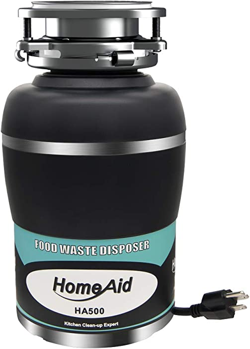 Garbage Disposal Quiet Disposer HomeAid 1/2 HP Silence AC Motor Continuous Feed with Power Cord Kitchen Food Waste Disposer