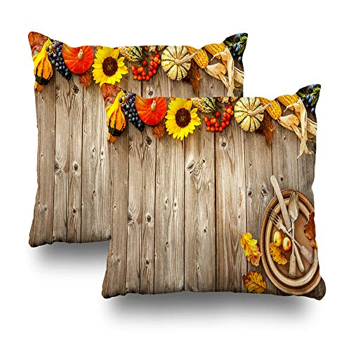 Set of 2 Decorativepillows Case Throw Pillow Covers for Couch/Bed 18 x 18 inch,Colorful Autumn Border Halloween and Thanksgiving Halloween Menu Home Sofa Cushion Cover Pillowcase -