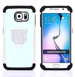 """Samsung Galaxy S6 / SM-G920 - 3 en 1 impreso colorido de Altas Prestaciones PC Funda chaqueta Negro cubierta gel silicona suave (Inspirada motivación Mensaje Azul"""")"""