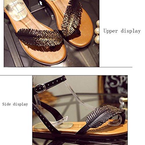 Cuero Versión Coreana Antideslizante Sandalias De Verano Mujer Zapatos Plano Black Fondo Estudiante C1xSp4wq7
