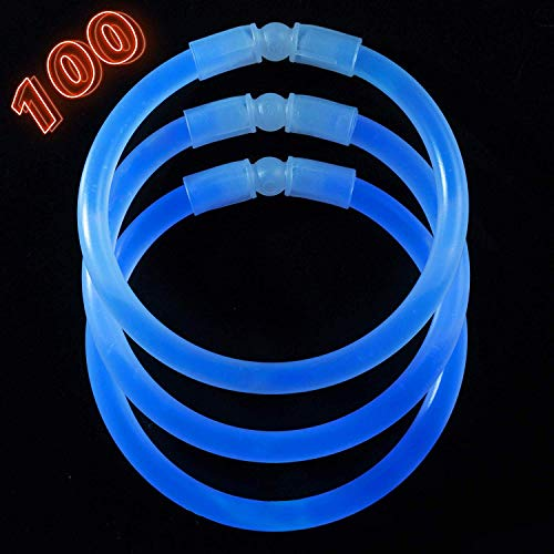 Glow Sticks Bulk Party Supplies - 100 Light Stick Bracelets - Extra Bright Glow In The Dark Party Favors - 8