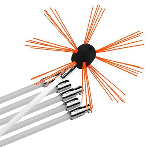Chimney Brush-Electrical Drill Drive Sweeping Cleaning Tool Kits with Nylon Flexible Rods (12 rods) Newmeil