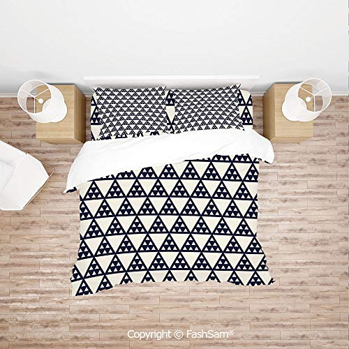 FashSam 4 Piece Bedding Sets Breathable Abstract Shapes Triangles Traditional Eastern Inspirations Illustration for Home(King) ()