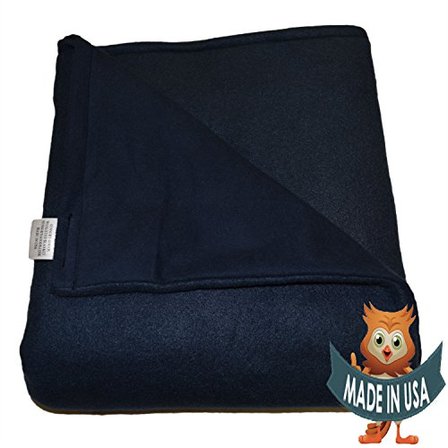 SENSORY GOODS Child Small Weighted Blanket by 6lb Medium Pressure - Navy - Fleece/Flannel (30'' x 48'')