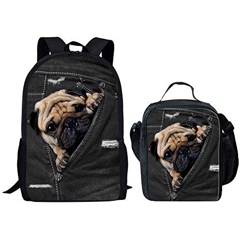 (Coloranimal Funny Animal Bulldog Pattern Shoulder Bookbag+Insulated Lunch Bags)