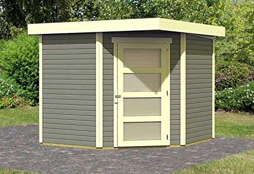 karibu woodfeeling gartenhaus schwandorf 5 terragrau 19 mm au enma b x t 242 x 245 cm. Black Bedroom Furniture Sets. Home Design Ideas