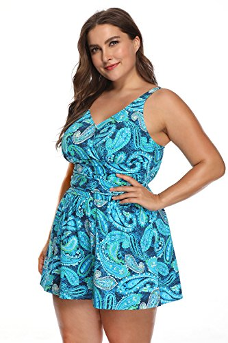 PERONA Plus Size Swimwear Tummy Control Swim Dress Size12-28 One Piece Swimsuit with Flared Skirt for Womens (US20W(Read The Size Chart in Our Image), Blue) ()