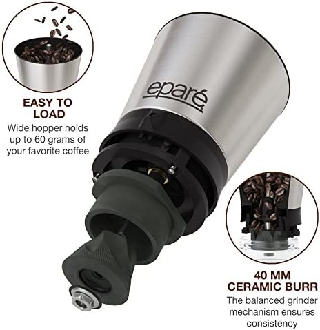 Epar Manual Coffee Grinder Conical Ceramic Burr Portable Hand Crank Mill- 15 Adjustable Settings – Stainless Steel