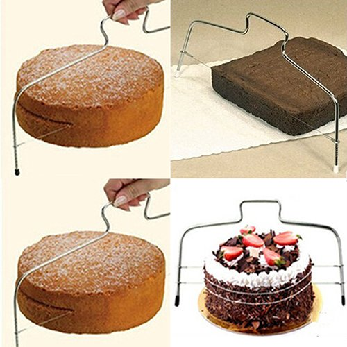 Cake Slice - 2016 Adjustable Wire Bread Cake Dough Pizza Slicer Leveler Stainless Steel Slices - Even Device Saver Lifter Plate Paper Wrap Wire Individual Mold Freshness Knife Plastic Cutter S