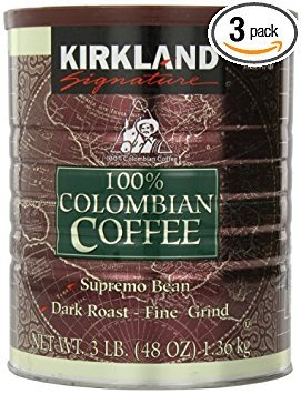 Signature 100% Colombian Coffee Supremo Bean Dark Roast-Fine Grind, 3 Pound (Pack of 3)