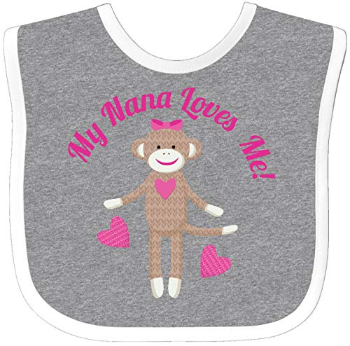 Inktastic - My Nana Loves Me Sock Monkey Baby Bib Heather/White eeae