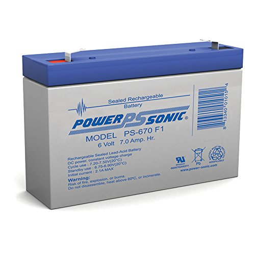 Powersonic PS-670F1 – 6 Volt/7 Amp Hour Sealed Lead Acid Battery with 0.187 Fast-on Connector