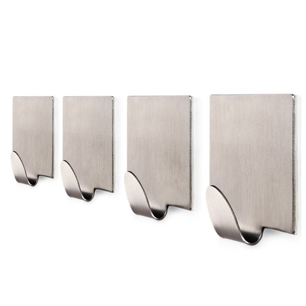 Wonderful Amazon.com: KAERSI Bathroom 3M Self Adhesive Hook For Towel And Robe,  Brushed Stainless Steel, 4 Pieces: Home U0026 Kitchen