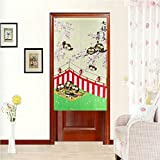 LifEast Children Bedroom Doorway Curtain Happy Owls Curtain Japanese Noren Style Panels (# 11)