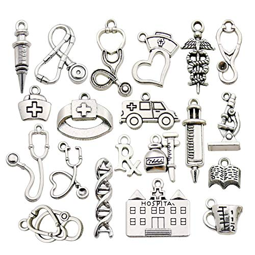 Youdiyla 60 Doctor Charms Collection, Bulk Hospita Nurse Stethoscope Ambulance Double Snake Stick Nurse Cap with Love Rx Letter Microscope Syringe Charms Metal Pendant Craft Findings HM319