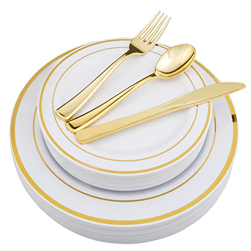 WDF-125 Piece Gold Plastic Silverware&Disposable Plastic Plates- Premium Heavyweight Plastic Place Setting include 25 Dinner Plates, 25 Salad Plates, 25 Forks, 25 Knives, 25 Spoons (Gold) -