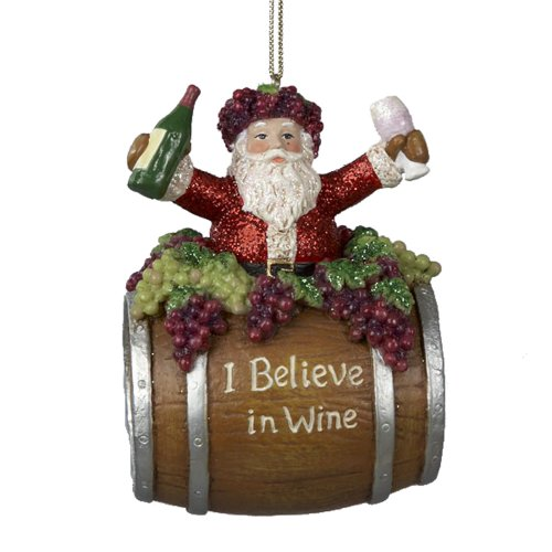 Kurt Adler 4-Inch Polyresin Santa on Wine Barrel Ornament