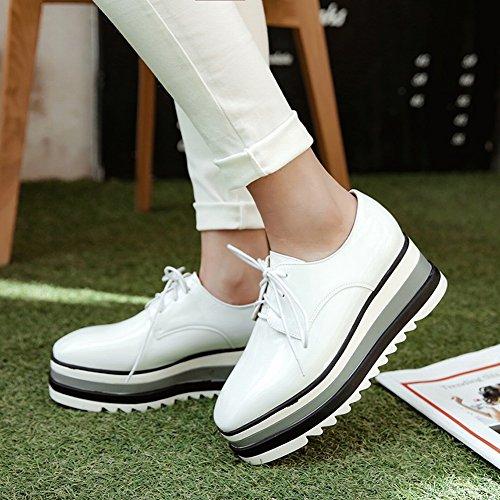 Zapatos De Plataforma De Tacón Medio Con Cordones Para Mujer De Cordones Chic Para Mujer Blanco