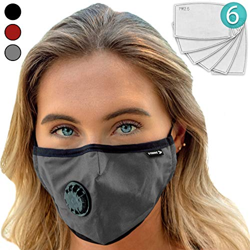 (Face Mask: Best Air Pollution UNIVERSAL FIT Dust Masks + 6 N99 Filter. Carbon Respirator & DustProof Safety Cover Mouth from Gas Exhaust Smoke, Pollen, Paint Use Cycling Running Women Men Kids (GRAY))